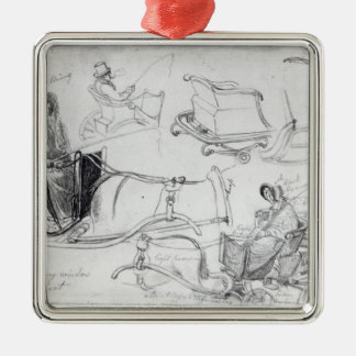 Pony and Traps on Francis Street, London, 1835 Christmas Tree Ornament