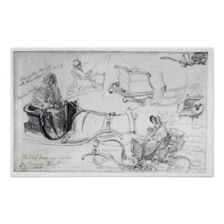 Pony and Traps on Francis Street, London, 1835 Poster