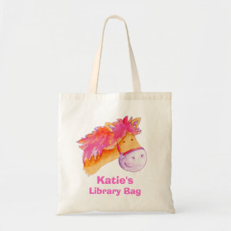 Pony bag pink orange & cream tote library bag