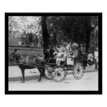 Pony Cart Girl and Dogs 1921 Print