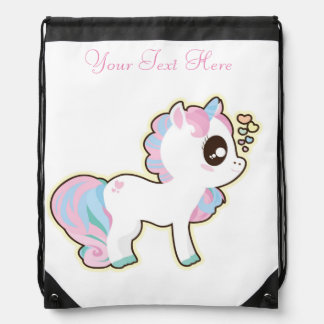 Pony/Draw String Back Pack Print/Personalized Drawstring Backpack