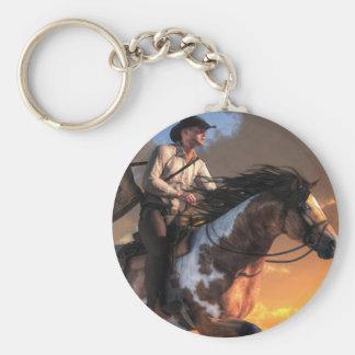Pony Express Basic Round Button Keychain