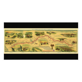 Pony Express Map by William Henry Jackson 1861 Card
