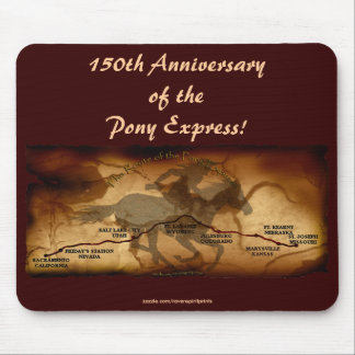 Pony Express Map Route 150th Anniversary  Mousepad