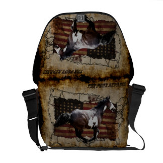 Pony Express Pinto Horse Delivering US Mail Messenger Bags
