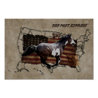 Pony Express Pinto Horse Delivering US Mail Poster