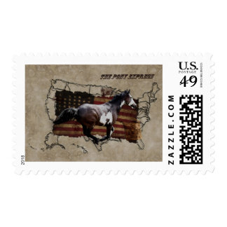 Pony Express Pinto Horse Delivering US Mail Stamps