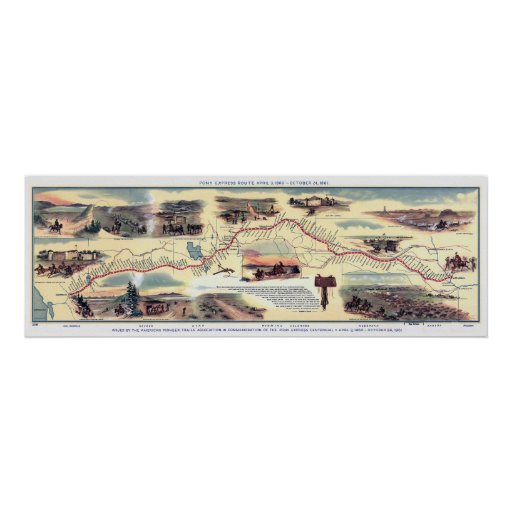 Pony Express Route Map Print