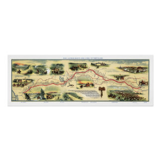 Pony Express Route Picture Map 1860 Poster