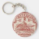 Pony Express Vintage Stamp Key Chains