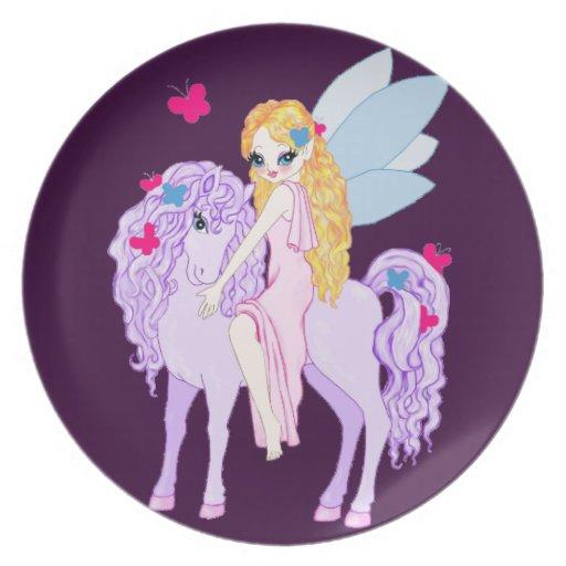 Pony, fairy & butterflies plates
