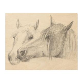 pony friends wood print