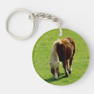 Pony Grazing in Field Keychain