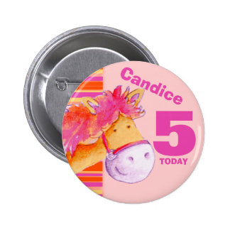 Pony horse 5th birthday button badge
