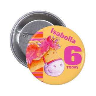 Pony horse 6th birthday button badge