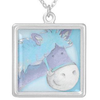 Pony horse blue watercolor art necklace