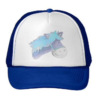 Pony horse blue watercolor whimsical hat