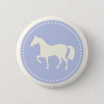 Pony/Horse silhouette equestrian button (blue)