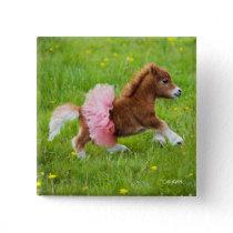 Pony in Tutu Button