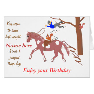 Pony Joke card, with squirrel. Birthday Add name. Card