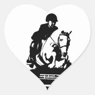 Pony Jumping bw Heart Sticker