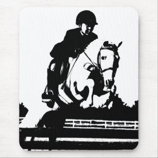 Pony Jumping bw Mouse Pad
