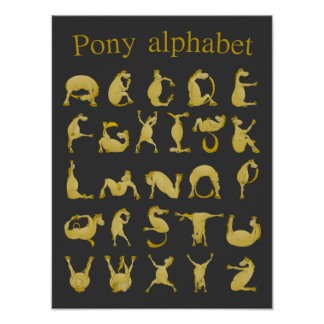 Pony making the letters for the alphabet poster