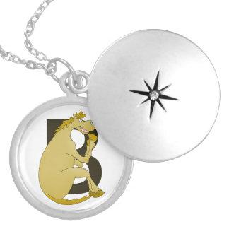 Pony Monogram Letter B Round Locket Necklace