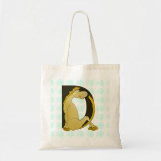 Pony Monogram Letter D Budget Tote Bag