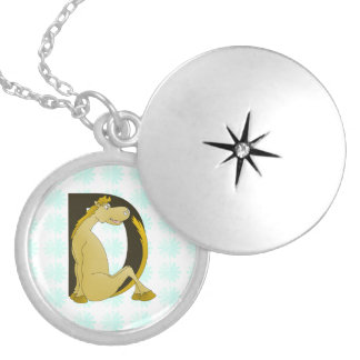 Pony Monogram Letter D Personalized Round Locket Necklace