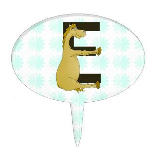 Pony Monogram Letter E Personalized Cake Topper