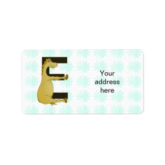 Pony Monogram Letter E Personalized Label