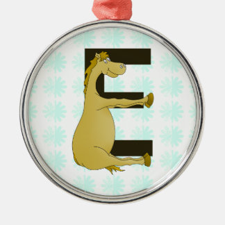 Pony Monogram Letter E Personalized Metal Ornament