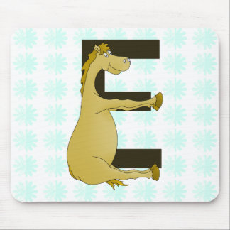 Pony Monogram Letter E Personalized Mouse Pad
