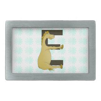 Pony Monogram Letter E Personalized Rectangular Belt Buckle