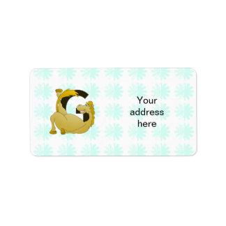 Pony Monogram Letter G Personalized Label