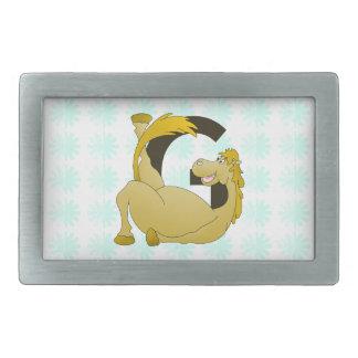 Pony Monogram Letter G Personalized Rectangular Belt Buckle