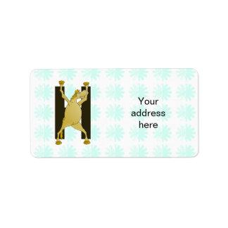 Pony Monogram Letter H Personalized Label