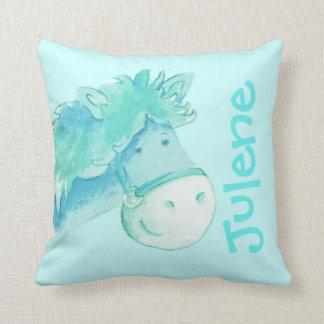 Pony name & birth newborn gift pale aqua pillow