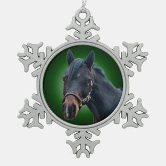 Pony on Green Snowflake Ornament