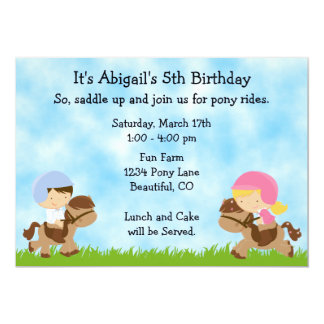 "Pony Party Birthday Invitations for Girls and Boys 5"" X 7"" Invitation Card"