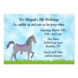 Pony Party Horse Birthday Invitation for Girls