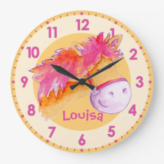 Pony Pink Orange Girls Room Named Wall Clock at Zazzle