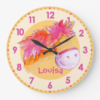 Pony pink orange girls room named wall clock
