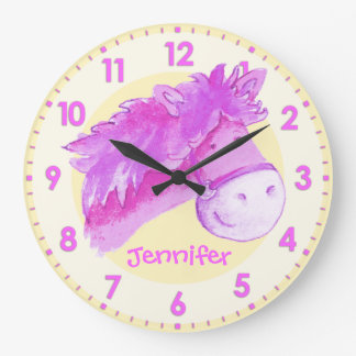 Pony pink yellow girls room named wall clock