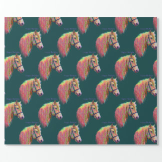 Pony, rainbow colours. Happy Birthday. Wrapping Paper