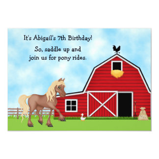 Pony Rides Horseback Riding Birthday Invitation