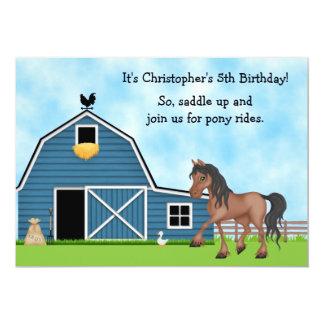 Pony Rides Horseback Riding Birthday Invite - Boys