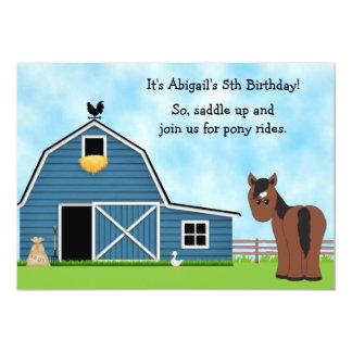 Pony Rides Horseback Riding Girl's Birthday Invite