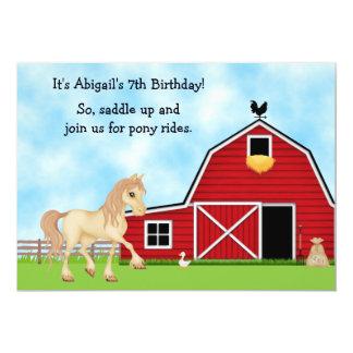 Pony Rides Horseback Riding Horse Birthday Party 5x7 Paper Invitation Card